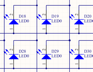 LEDs connected in a matrix